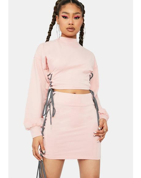 Blush The Less I Know Lace Up Skirt Set