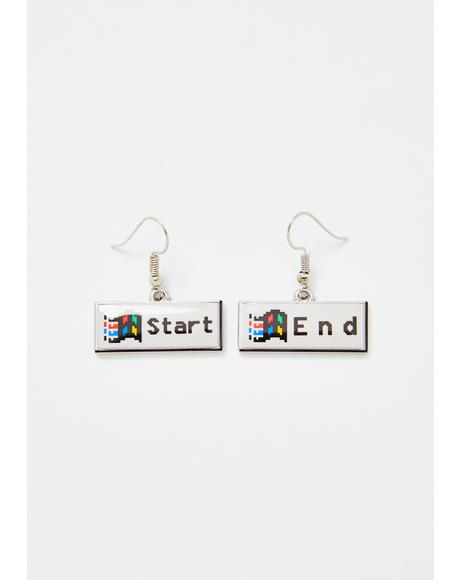 Push To Start Button Earrings