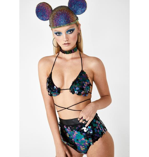 Club Exx Nocturnal Groove Sequin Bra