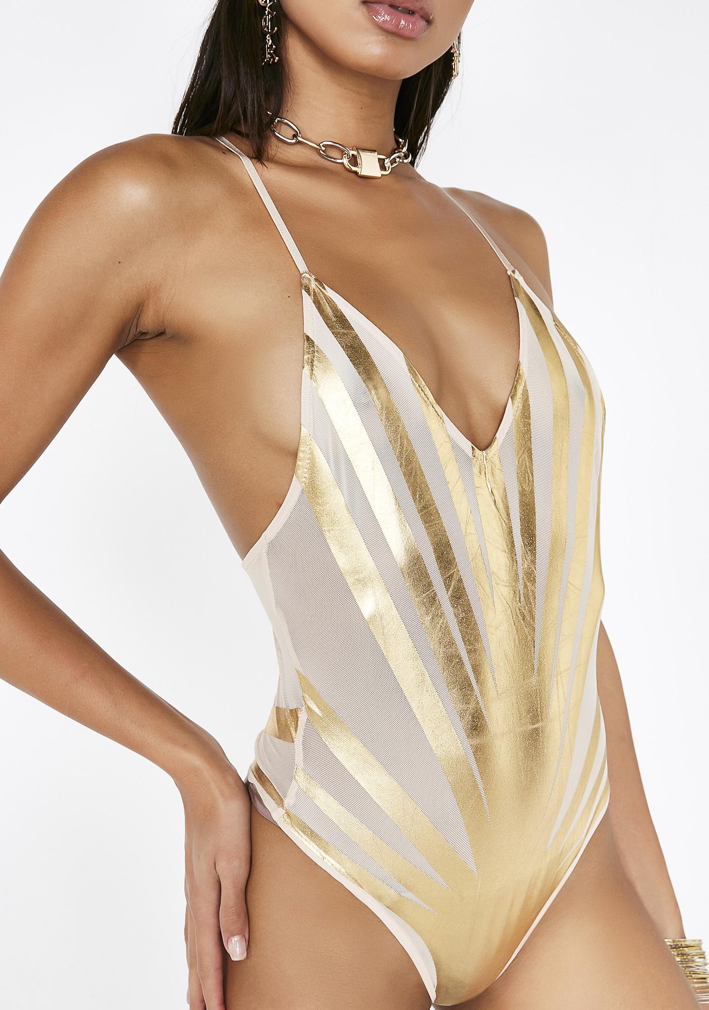 Poster Grl Gilded Starburst Mesh Bodysuit