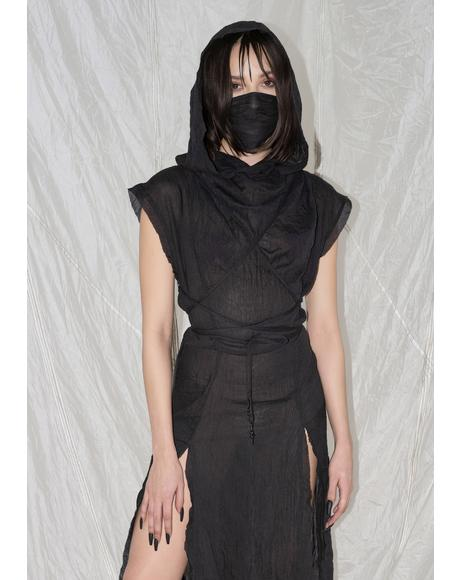 Synth Hooded Gauze Tunic Dress And Mask Set