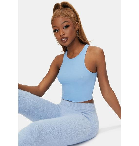 Free People Sky Blue High Neck Ribbed Crop Top