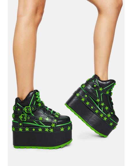 Qozmo Bondage Weed Platform Sneakers