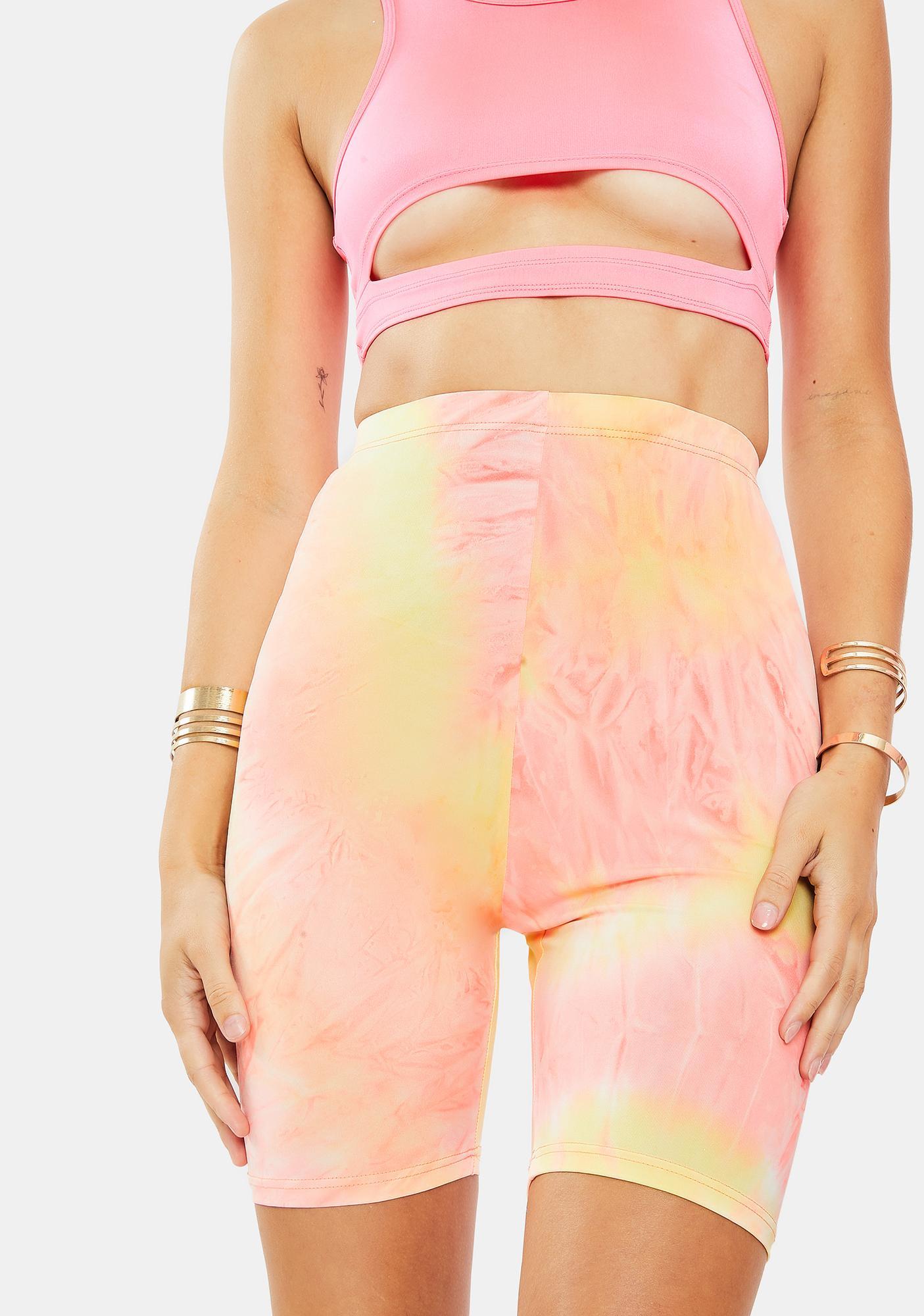 Glamorous Pastel Tie Dye Bike Shorts
