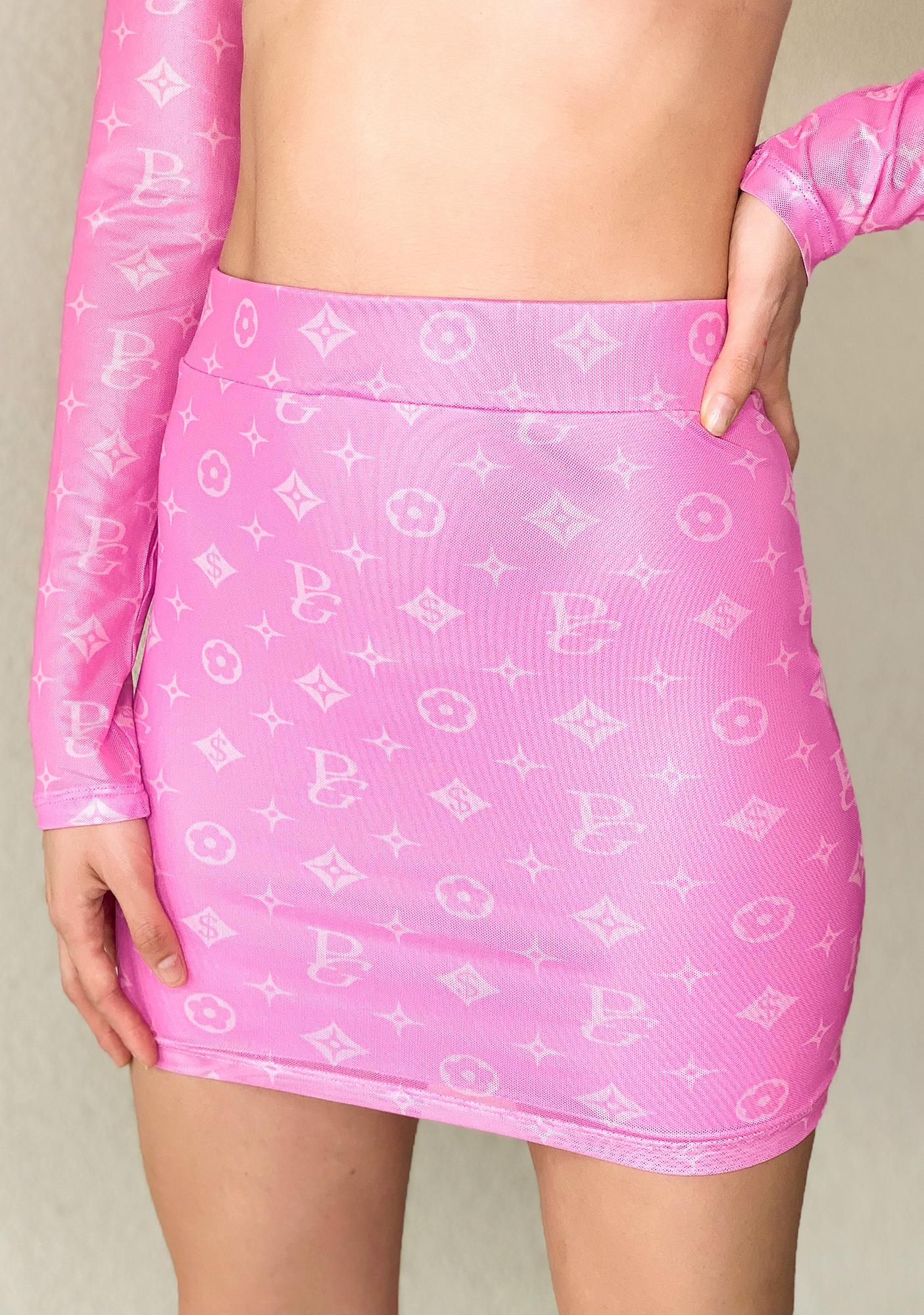 Poster Grl Designer Drip Monogram Skirt Set
