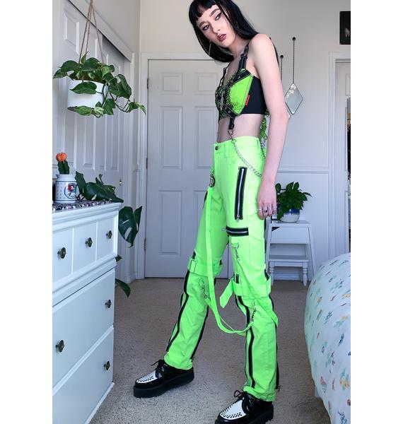 Tripp NYC Neon Lime Zipper Strap Cargo Pants