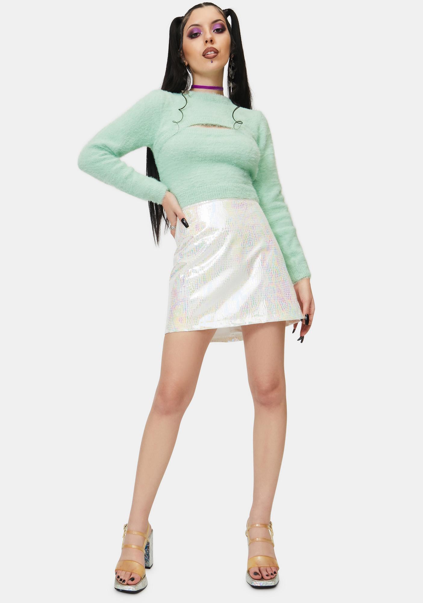 ZEMETA Soft Minty Crop Sweater