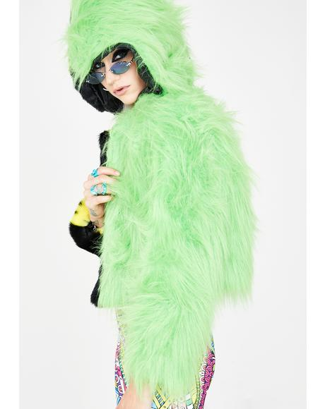 Smiley Neon Green Split Faux Fur Jacket