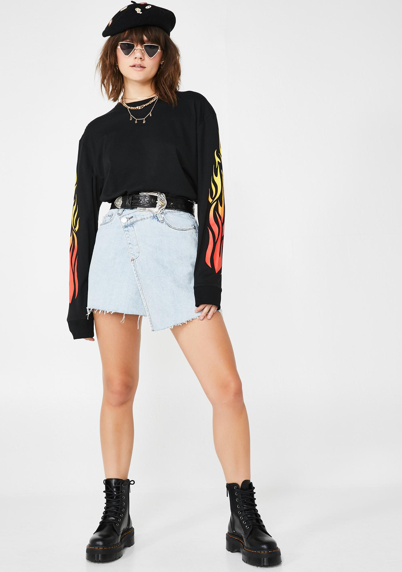 Blank NYC Folded Denim Mini Skirt