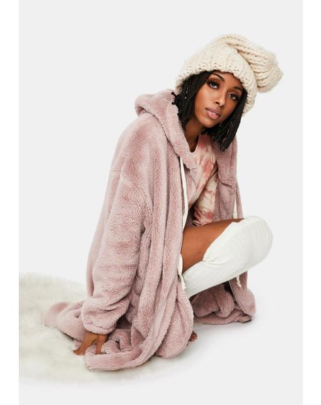 Mauve Hyped Up Longline Teddy Coat