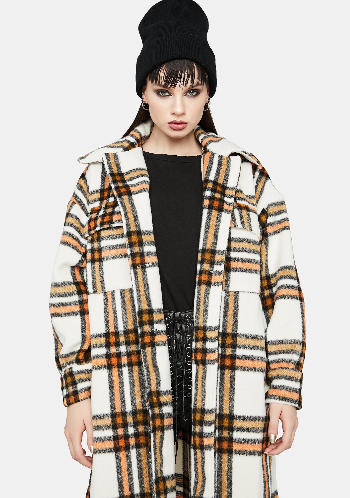 Marigold Plaid Please Long Jacket
