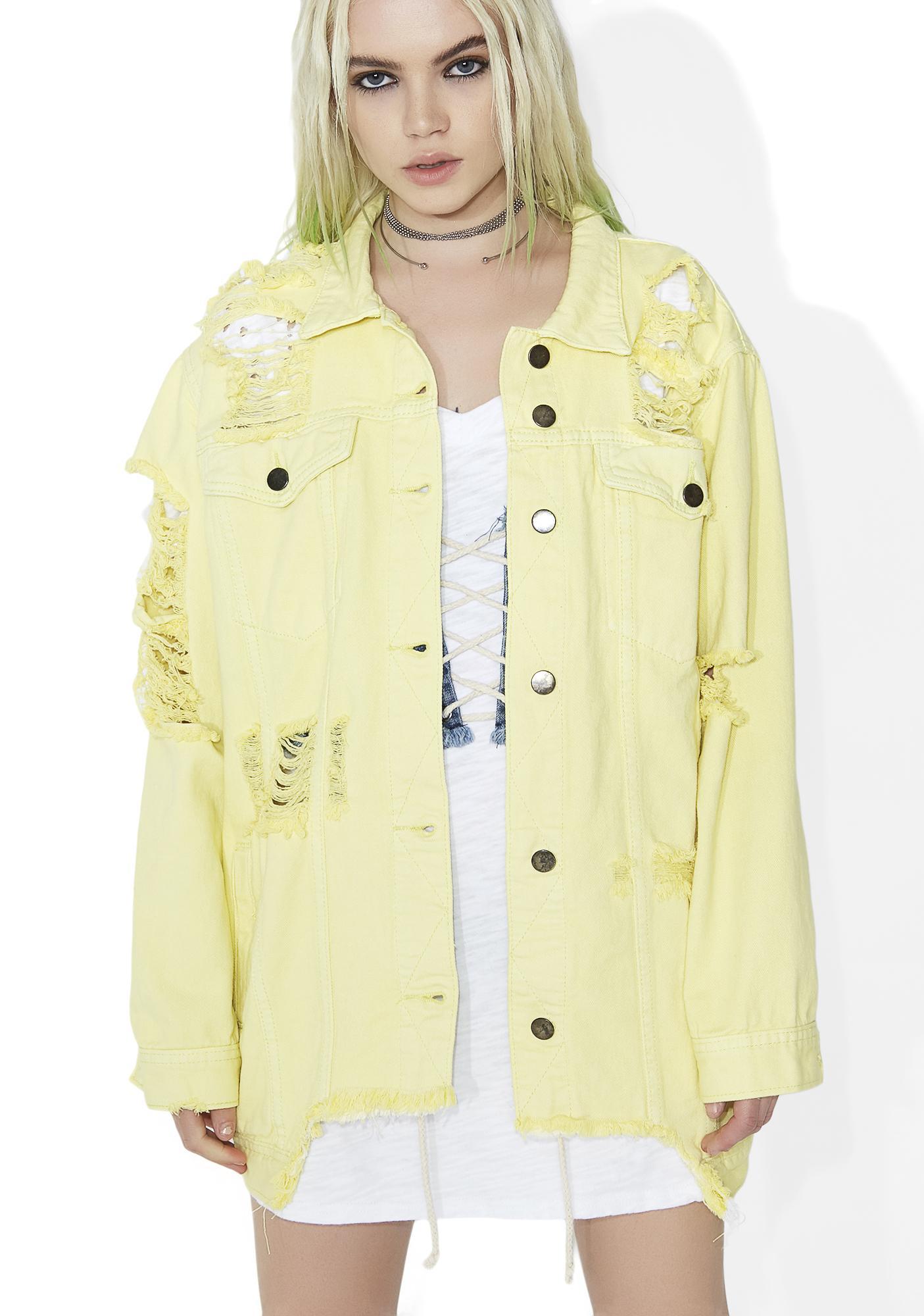Citrus Sucker Distressed Denim Jacket