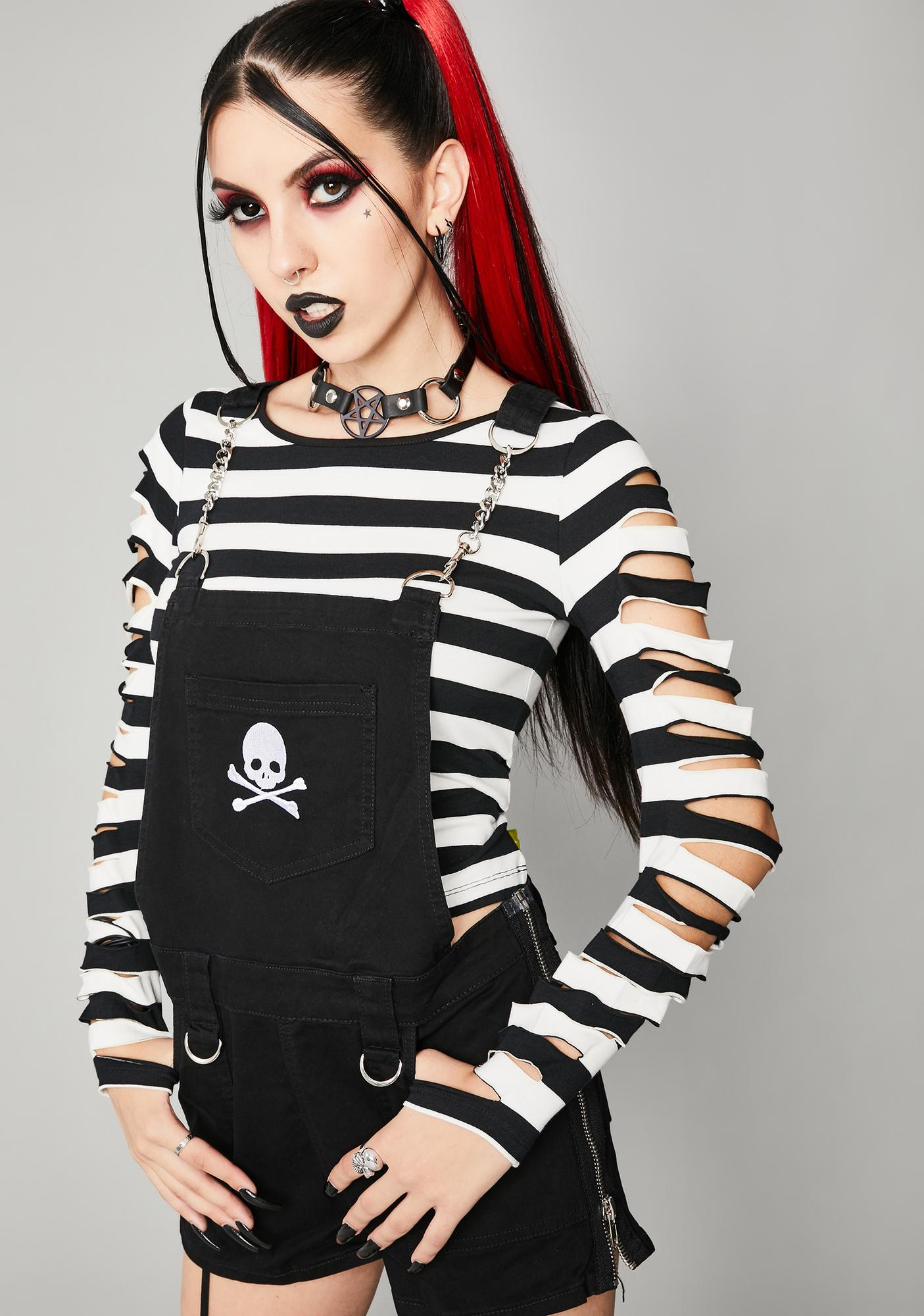 Widow Lost Souls Striped Long Sleeve Top