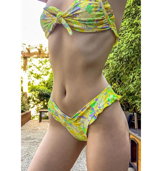 For Love & Lemons Yellow Freedom Floral Cheeky Bikini Bottoms