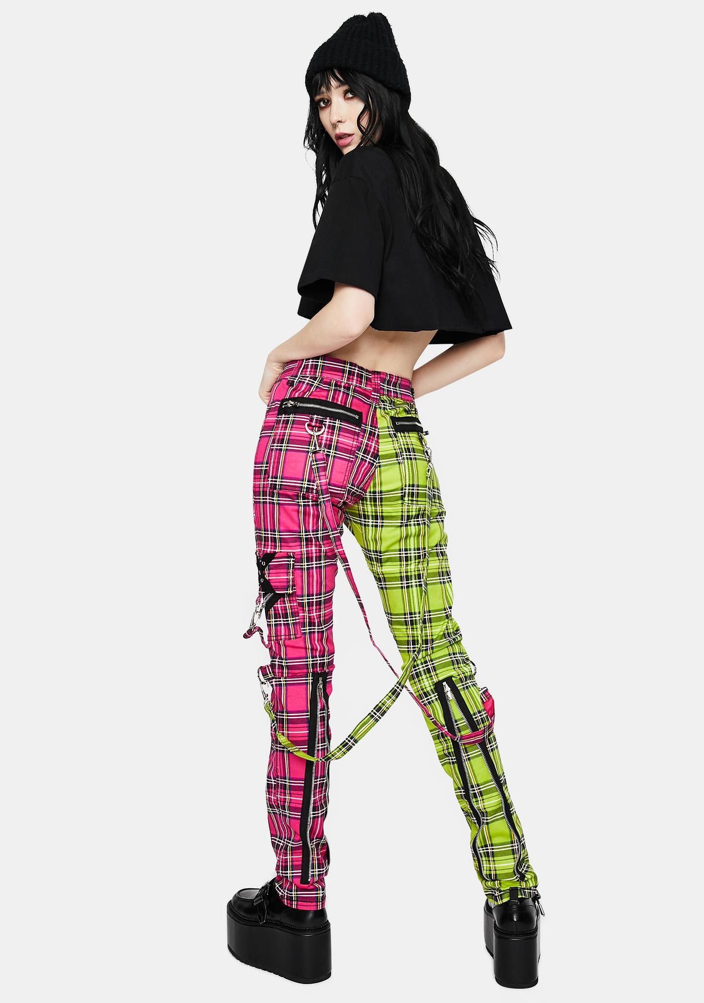 Tripp NYC Lime Pink Madness Plaid Pants