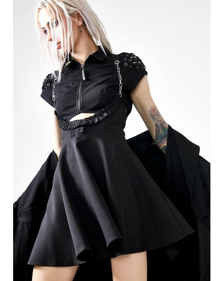 Punk Chain Strap Flared Half Skirt