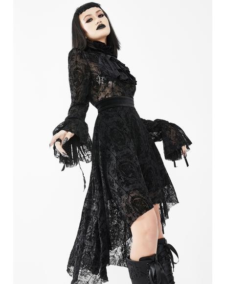 Lace Bell Sleeve High Low Dress