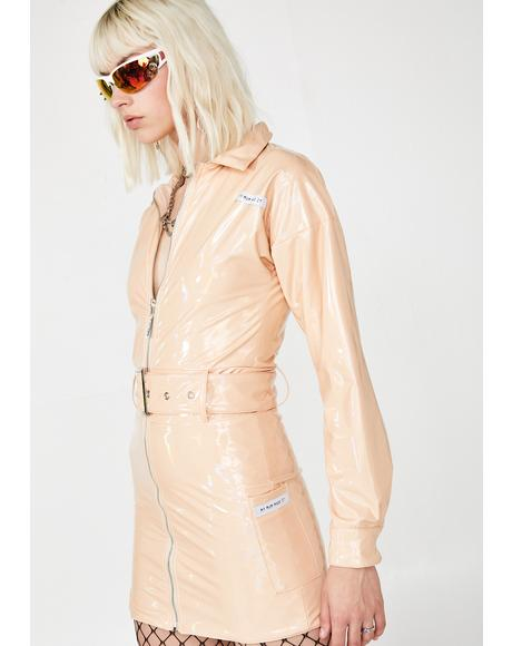 Patent Nude Reflect Belted Dress