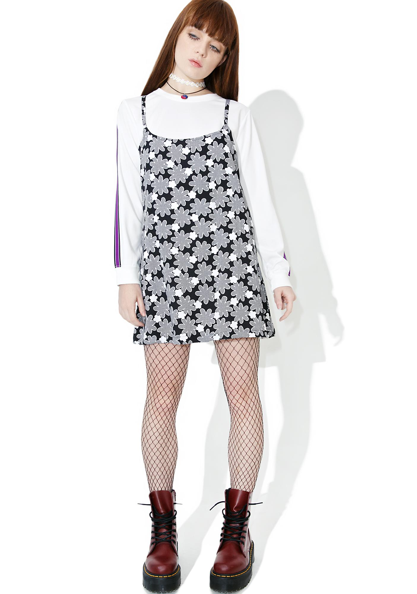 Vintage 90s Black And White Checkered Floral Dress