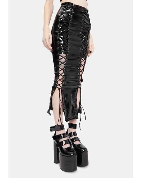 Domination Games Patent Midi Skirt