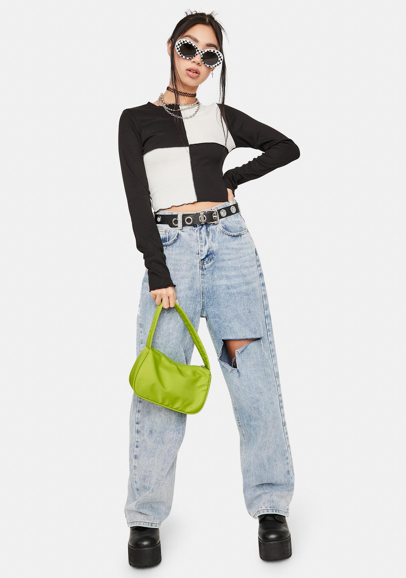 Dark Fool Me Once Colorblock Crop Top