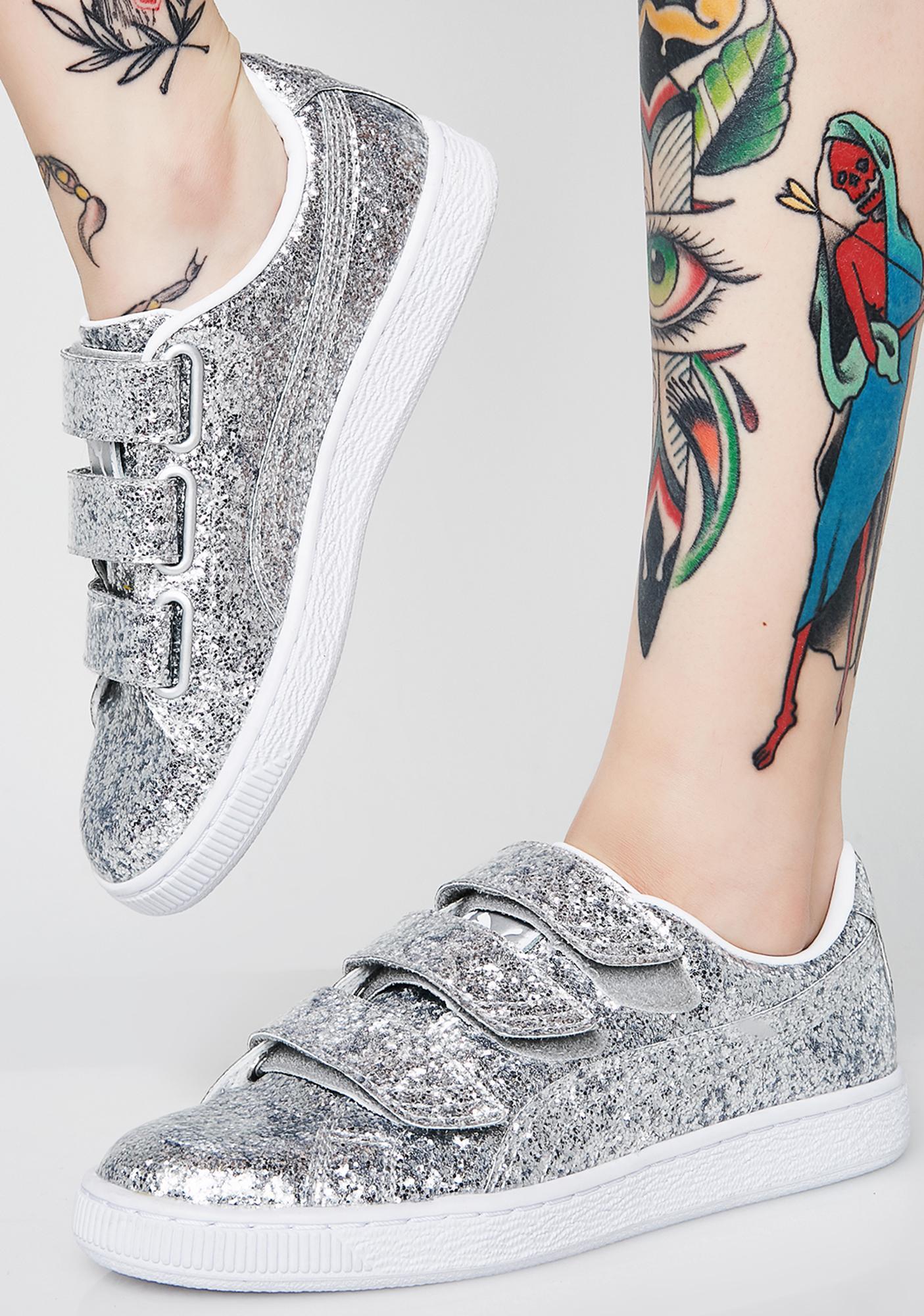 PUMA Basket Strap Glitter Sneakers
