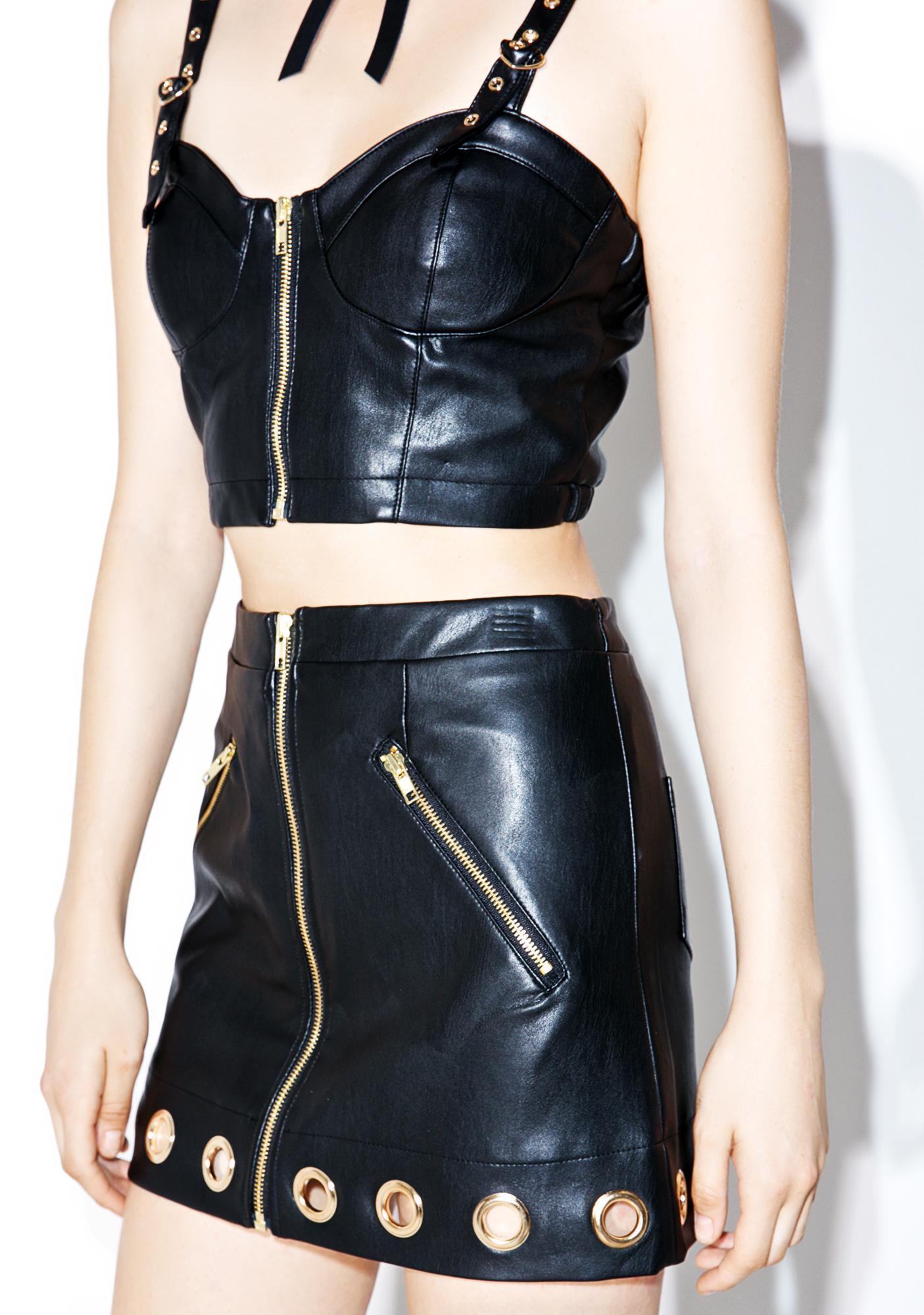 one spo Night Gold Eyelet Mini Skirt