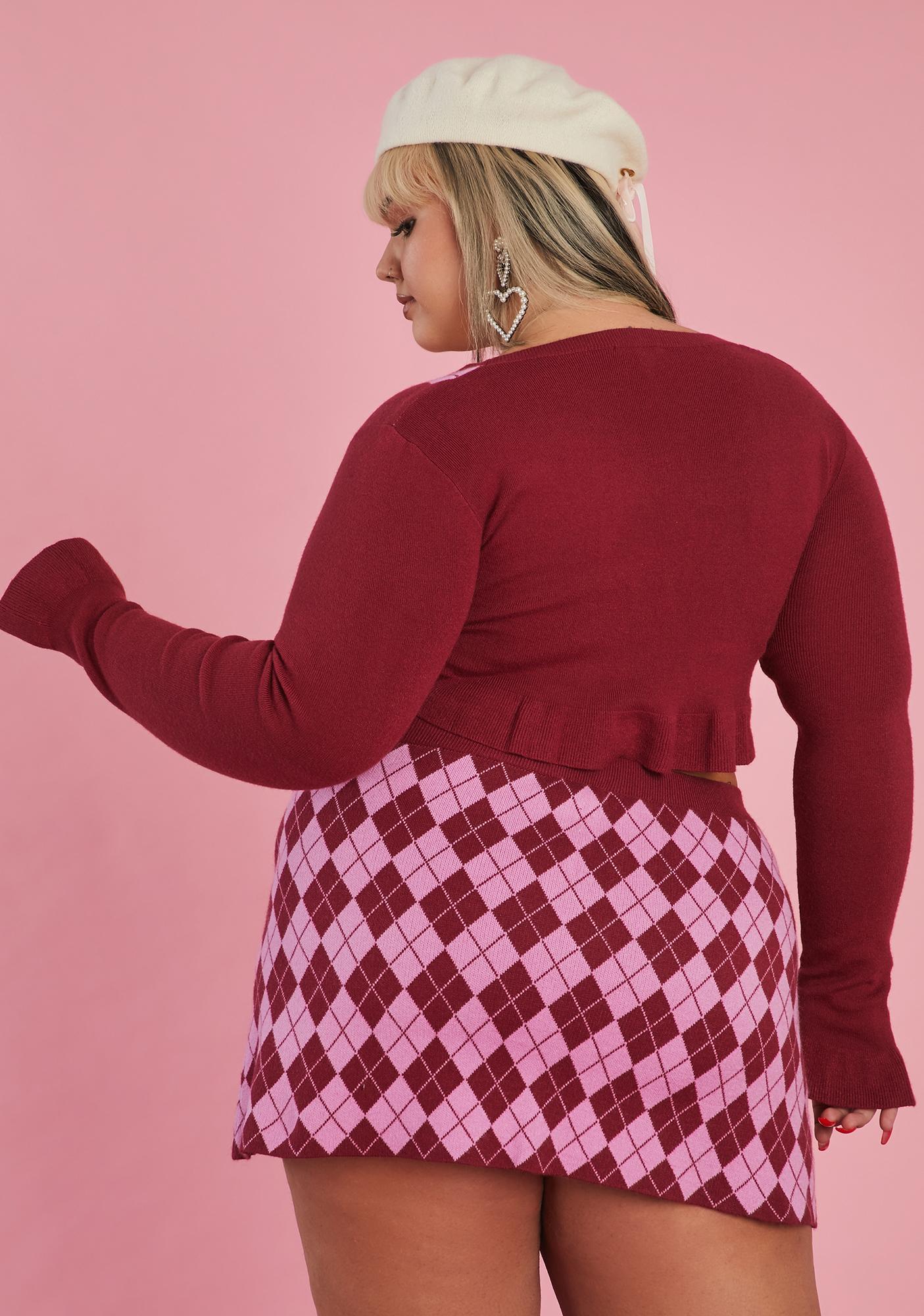 Sugar Thrillz Her Morning Musings Argyle Sweater