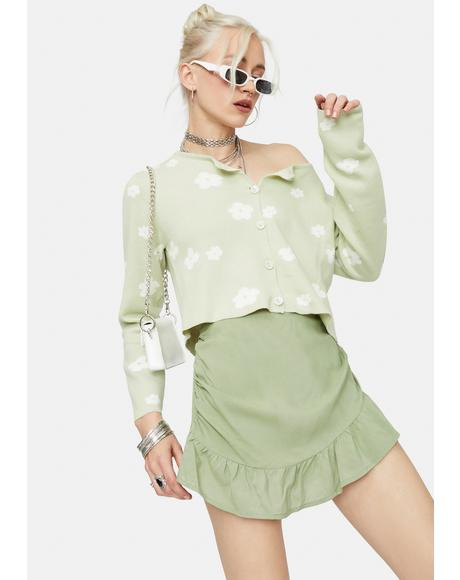 Through The Fields Floral Cropped Cardigan Top