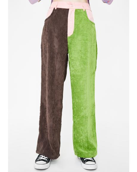 Green N' Brown Tri-Colour Corduroy Trousers