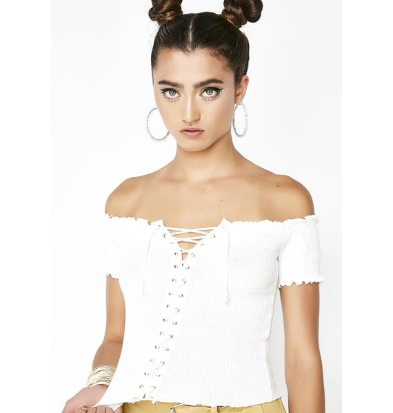 Pure Crossed Lines Lace-Up Top