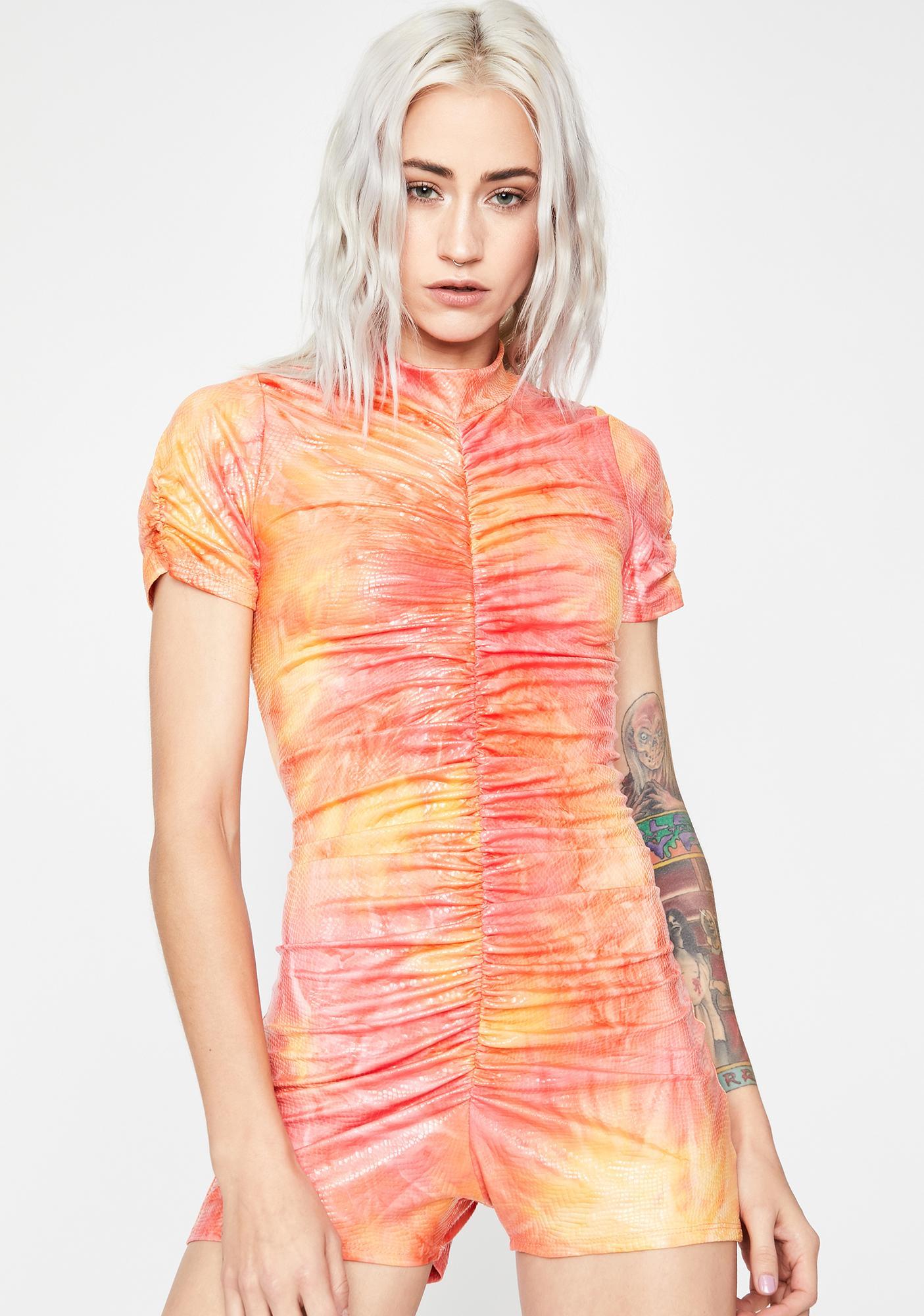 Sunset Candyland Matrix Tie Dye Romper