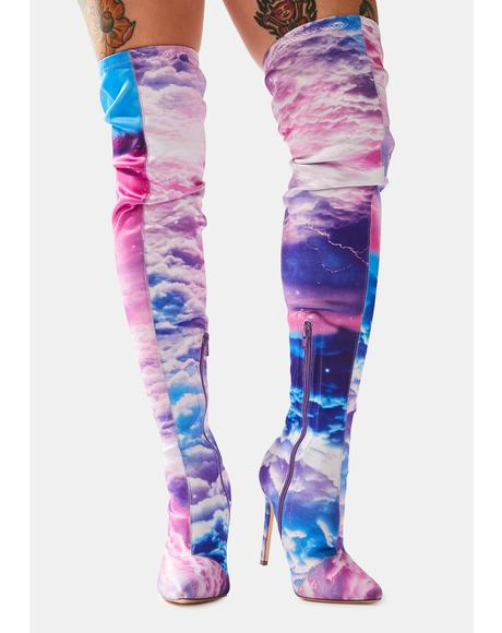 In The Clouds Thigh High Heeled Boots