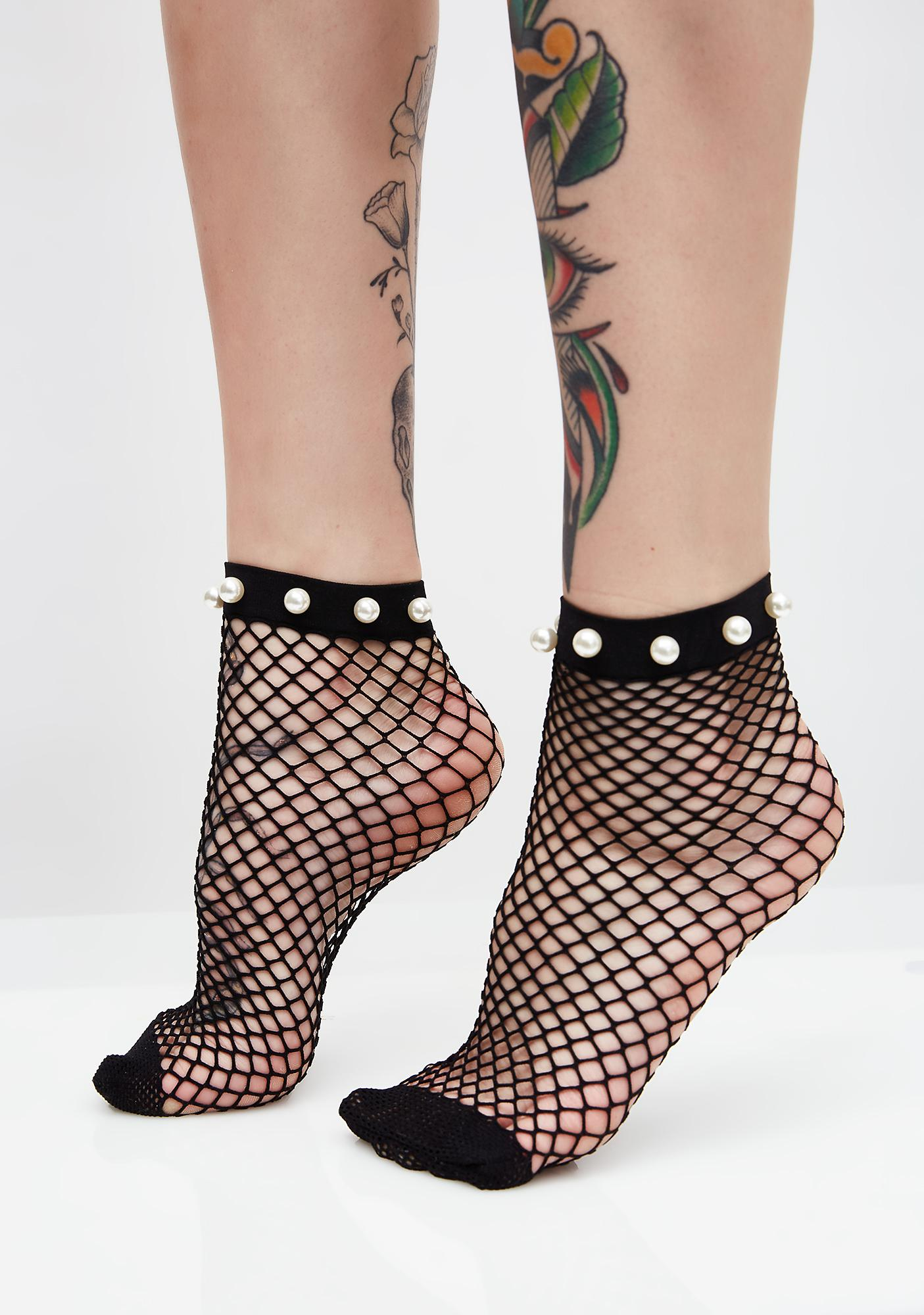Pearl Treasure Fishnet Socks