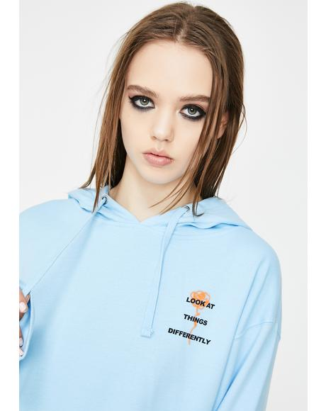 Blue Perspective Graphic Hoodie