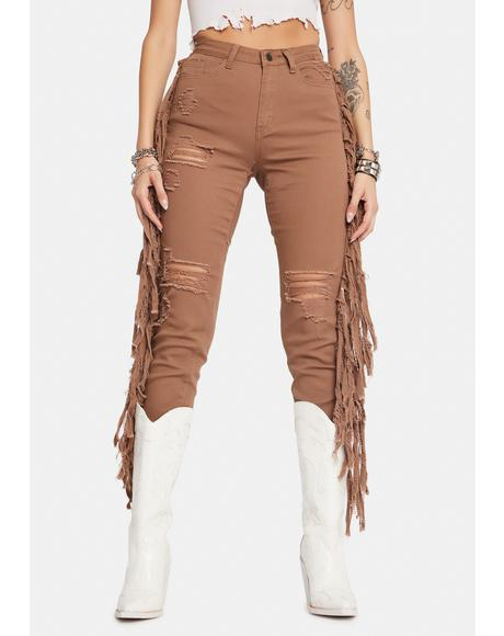 Whiskey Night Crawling Distressed Fringe Jeans