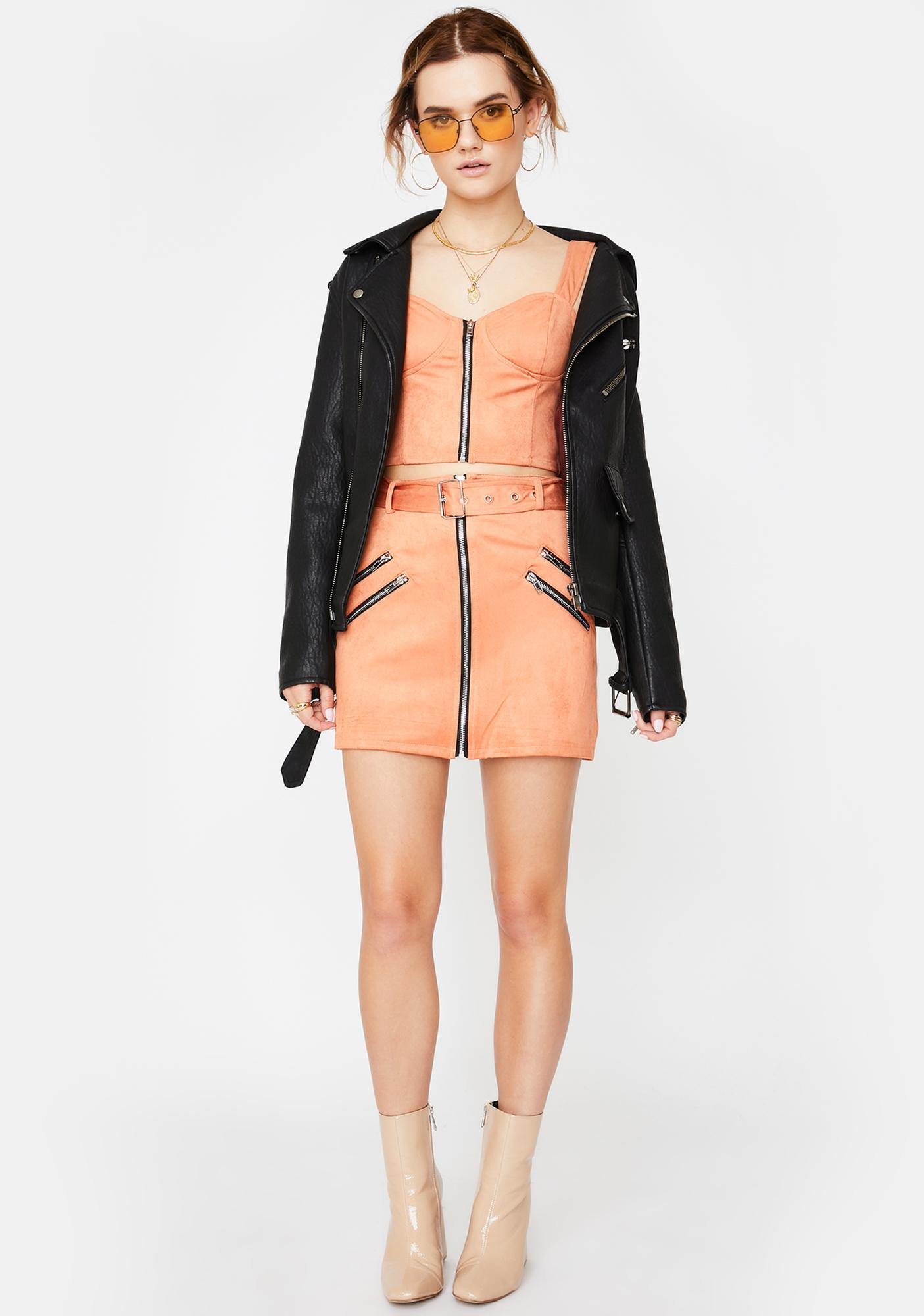 Honey Punch Salmon Zip Up Bustier