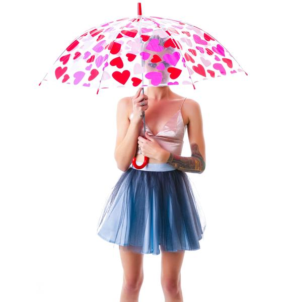 Raining Hearts Clear Umbrella