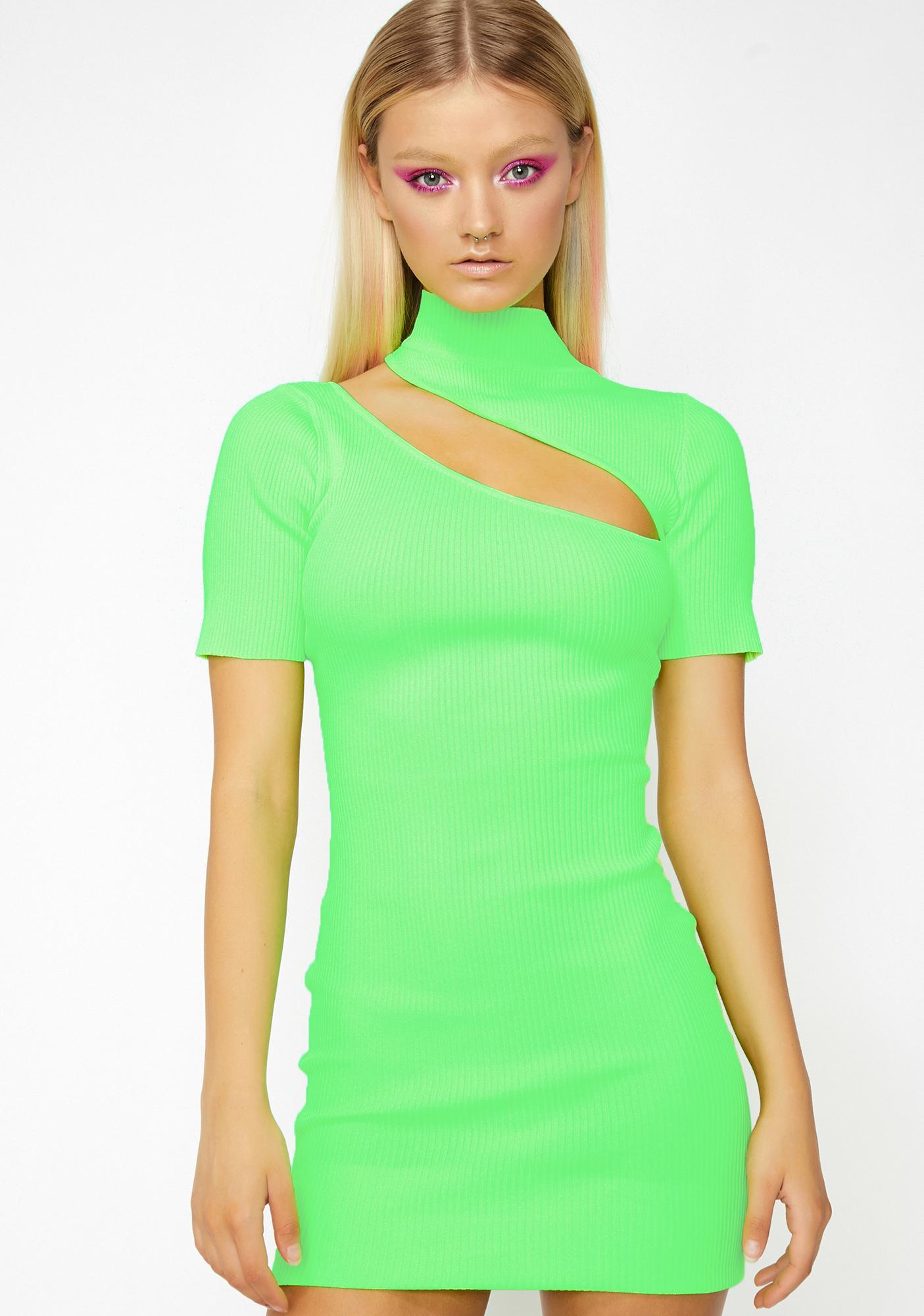 4c7ccb9b4ac4 Cut Out Dress Mini Mock Neck Ribbed Green | Dolls Kill