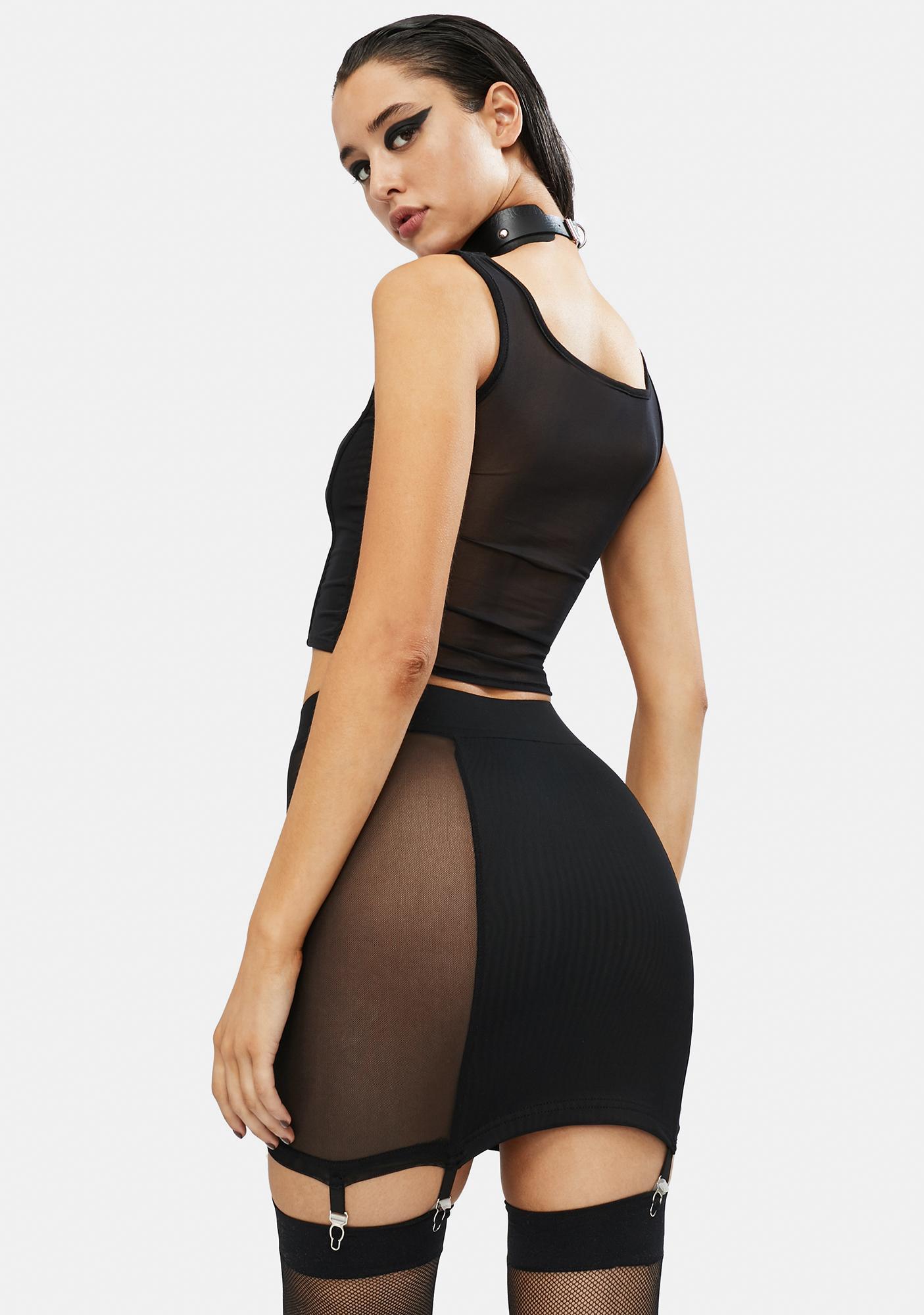Takin' You Down Mesh Garter Skirt
