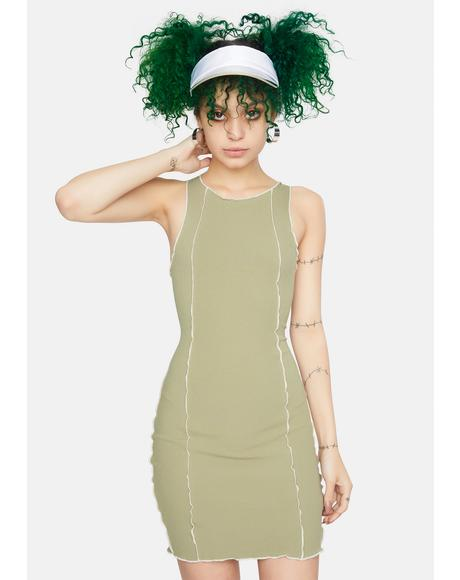 Sage Contrast Stitch Mini Dress
