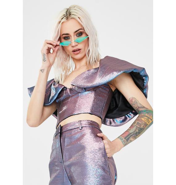 Jaded London Pink Blue Metallic Puff Sleeve Crop Top