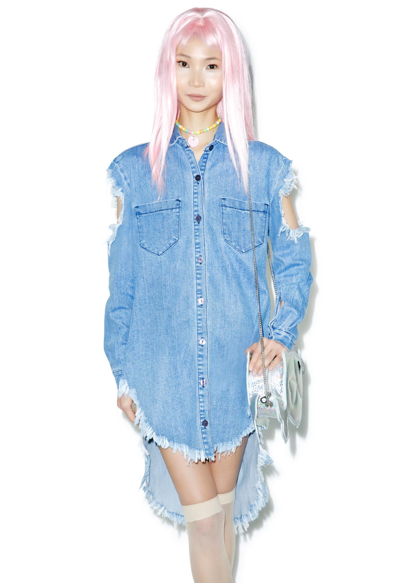 80eadeb4155 Tattered Denim Shirt | Dolls Kill