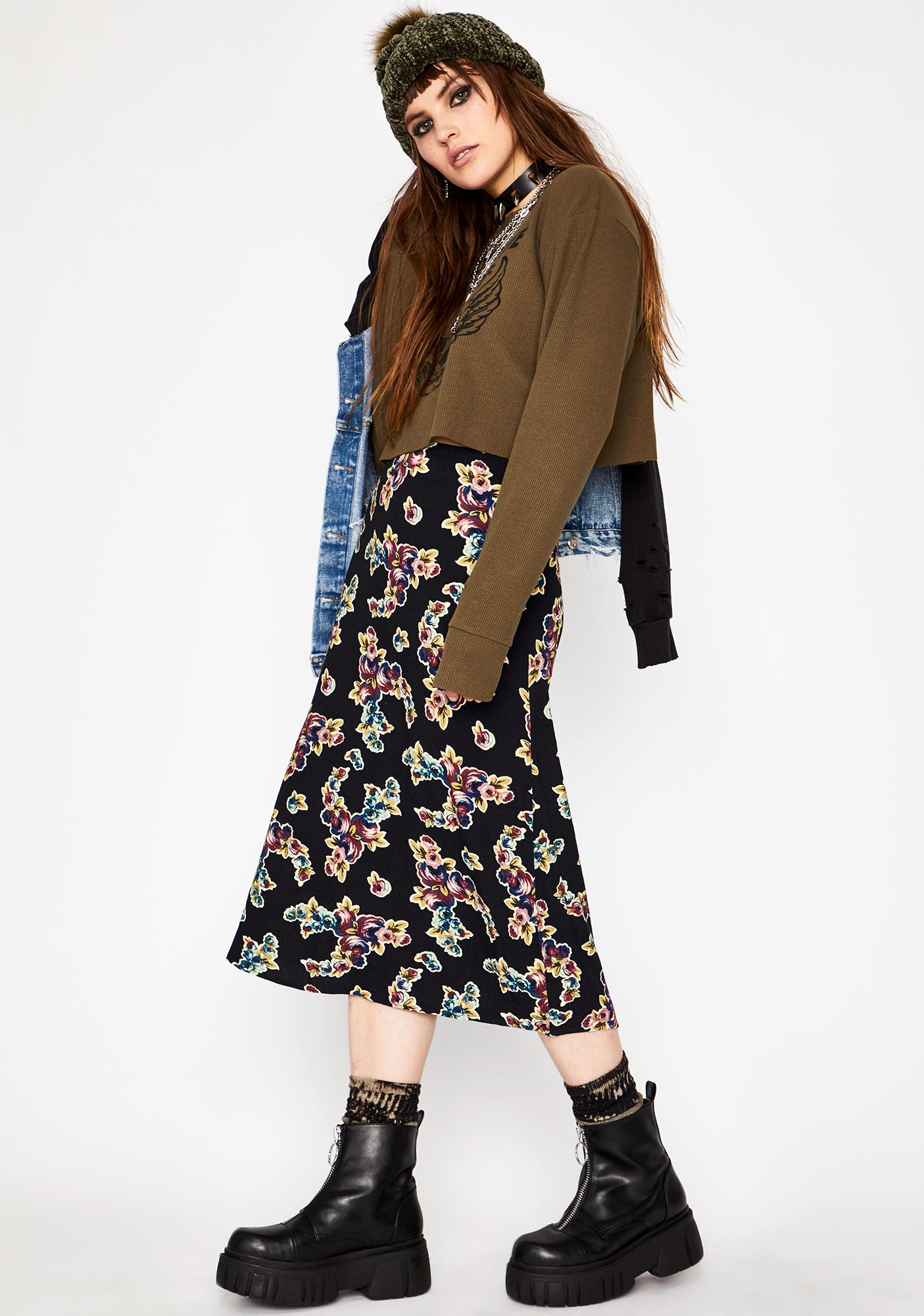 Current Mood Fall To Pieces Midi Skirt