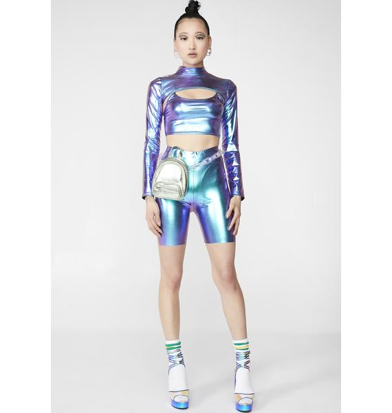 NEW GIRL ORDER Holographic Two Piece Set