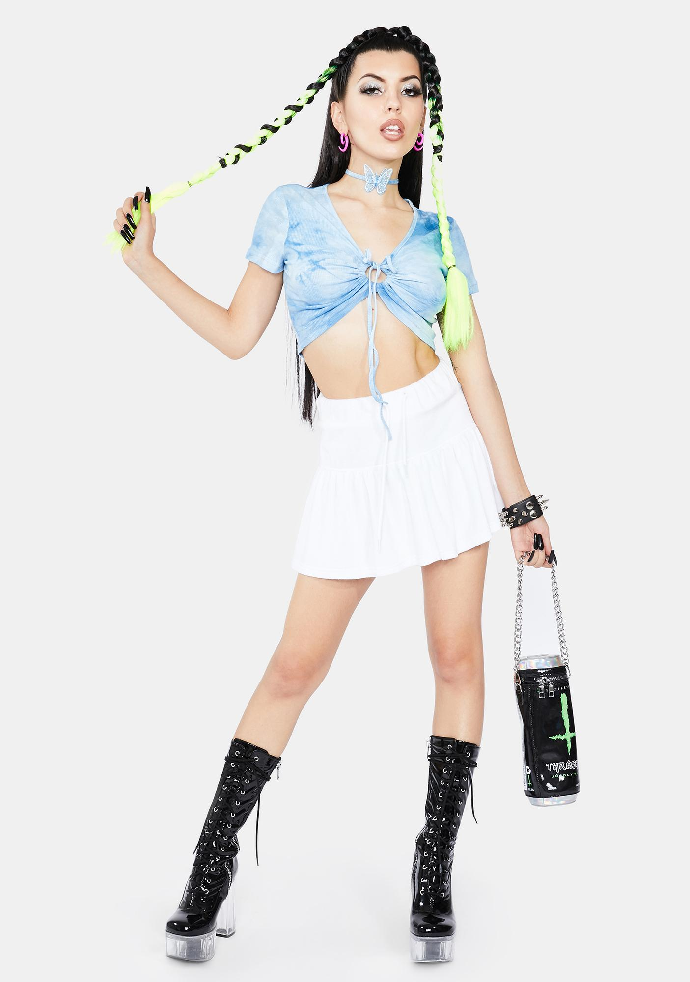ZEMETA Sky Fall Dye Choker and Crop Top Set