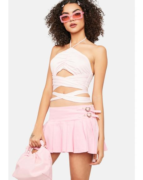 Blush Raise Your Glass Wrap Halter Top