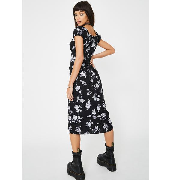 Motel Black Rose Milla Midi Dress