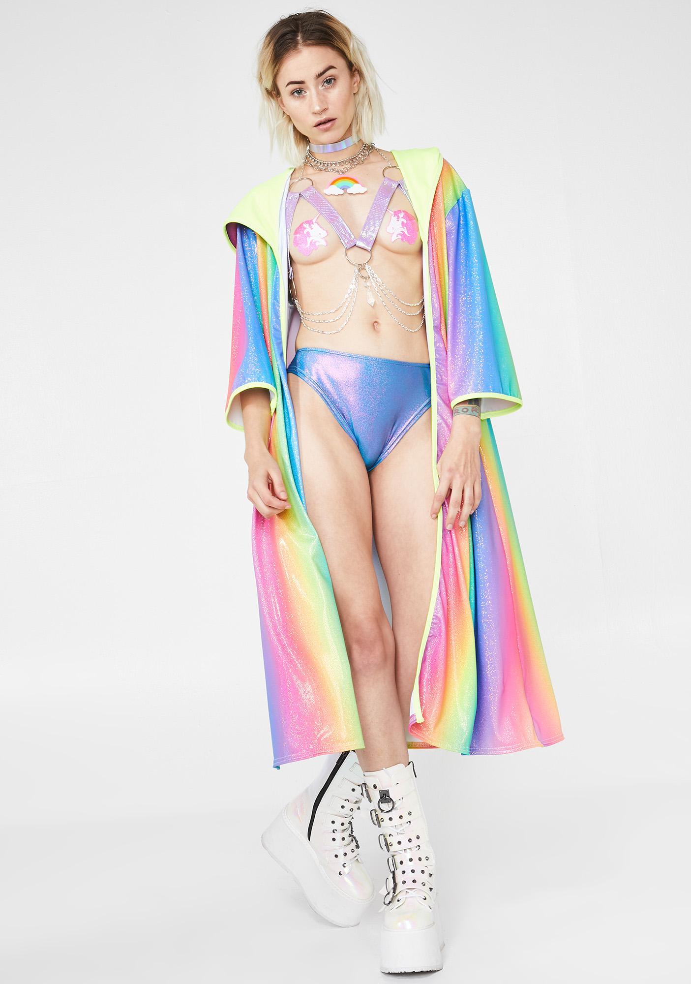 11e638fcf50 Rolita Rave Couture Glitter Rainbow Kimono | Dolls Kill