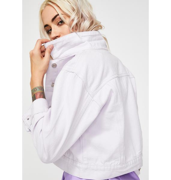 Momokrom Lilac Cropped Denim Jacket